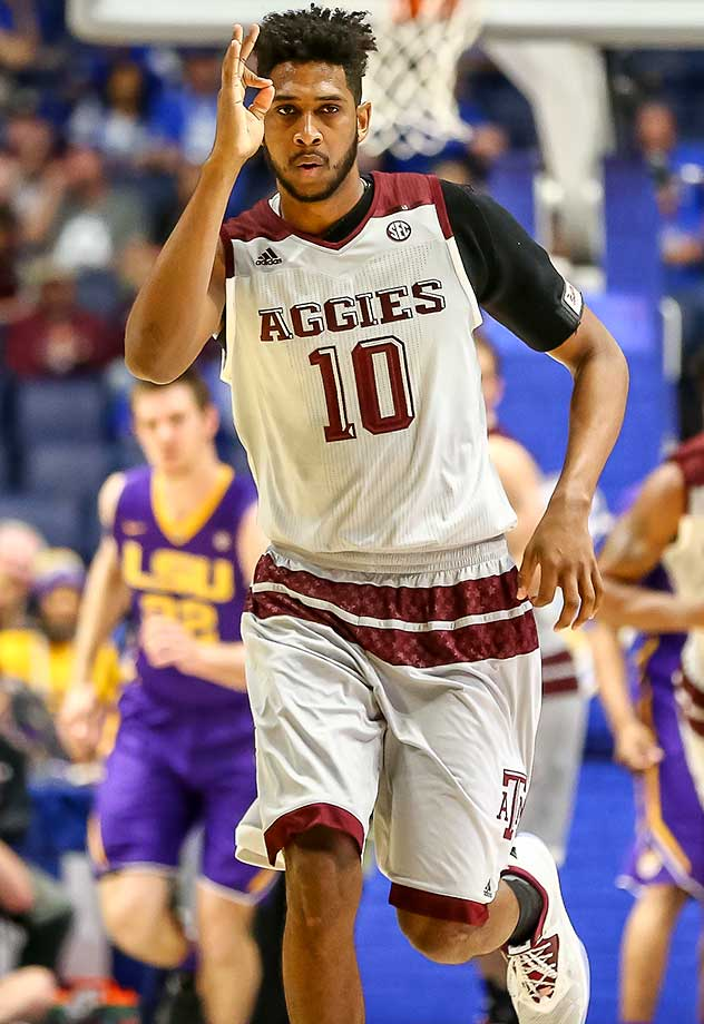 Texas A&M center Tonny Trocha-Morelos reacts to a play during an SEC semifinal against LSU.