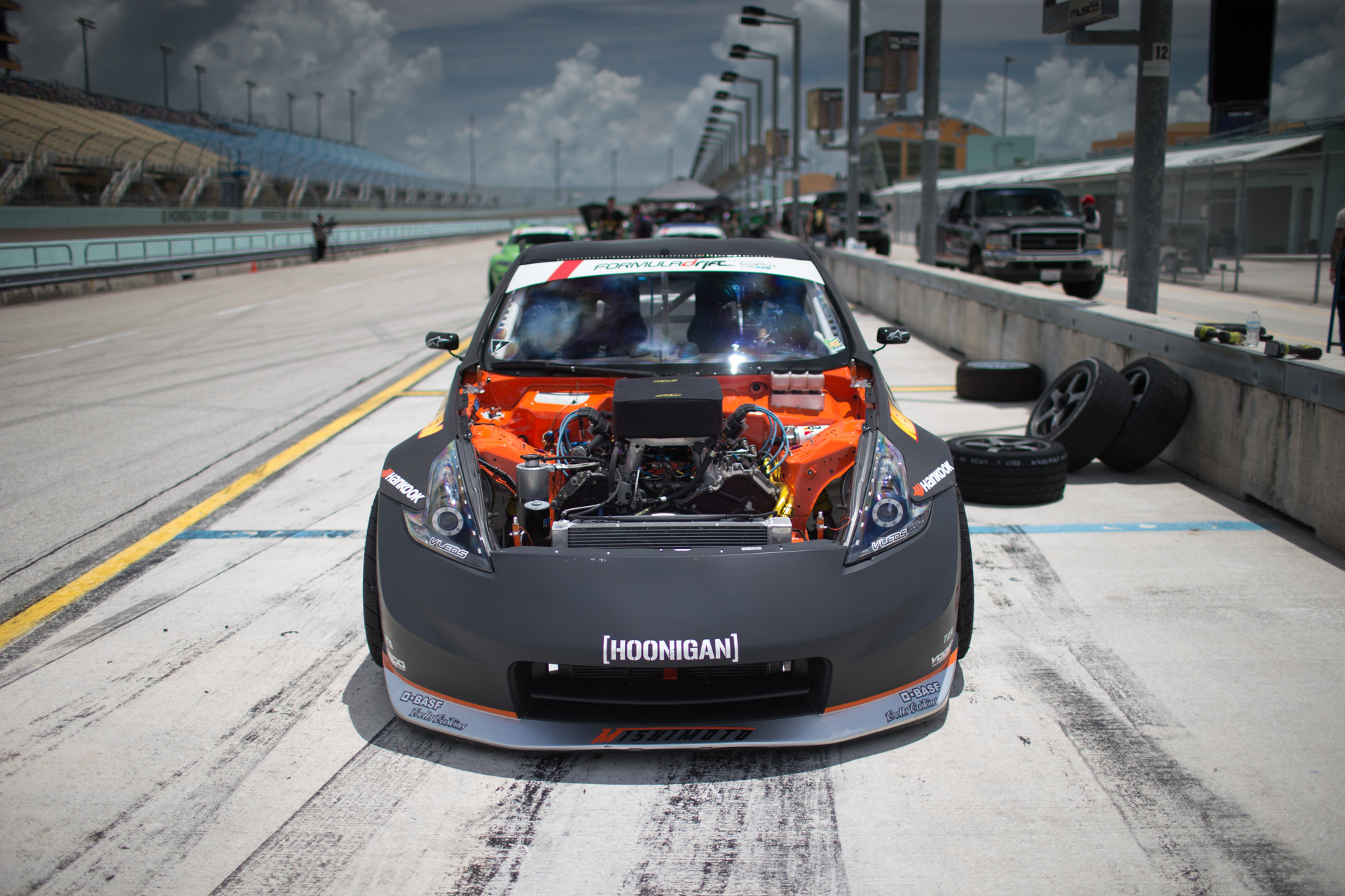 A look under the hood of Forsberg's Hankook Tire Nissan 370Z.