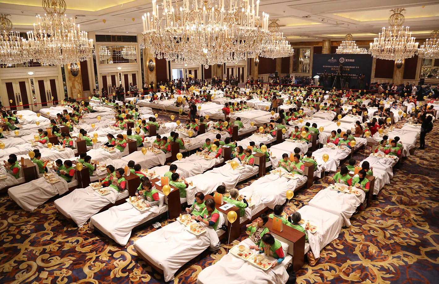 The most people eating breakfast in bed is 388 and was achieved by Pudong Shangri-La in Shanghai, China, on Nov. 12, 2014.