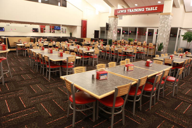 The Lewis Training Table was completely redesigned in 2010 and serves as the main student-athlete dining facility for lunch and dinner.