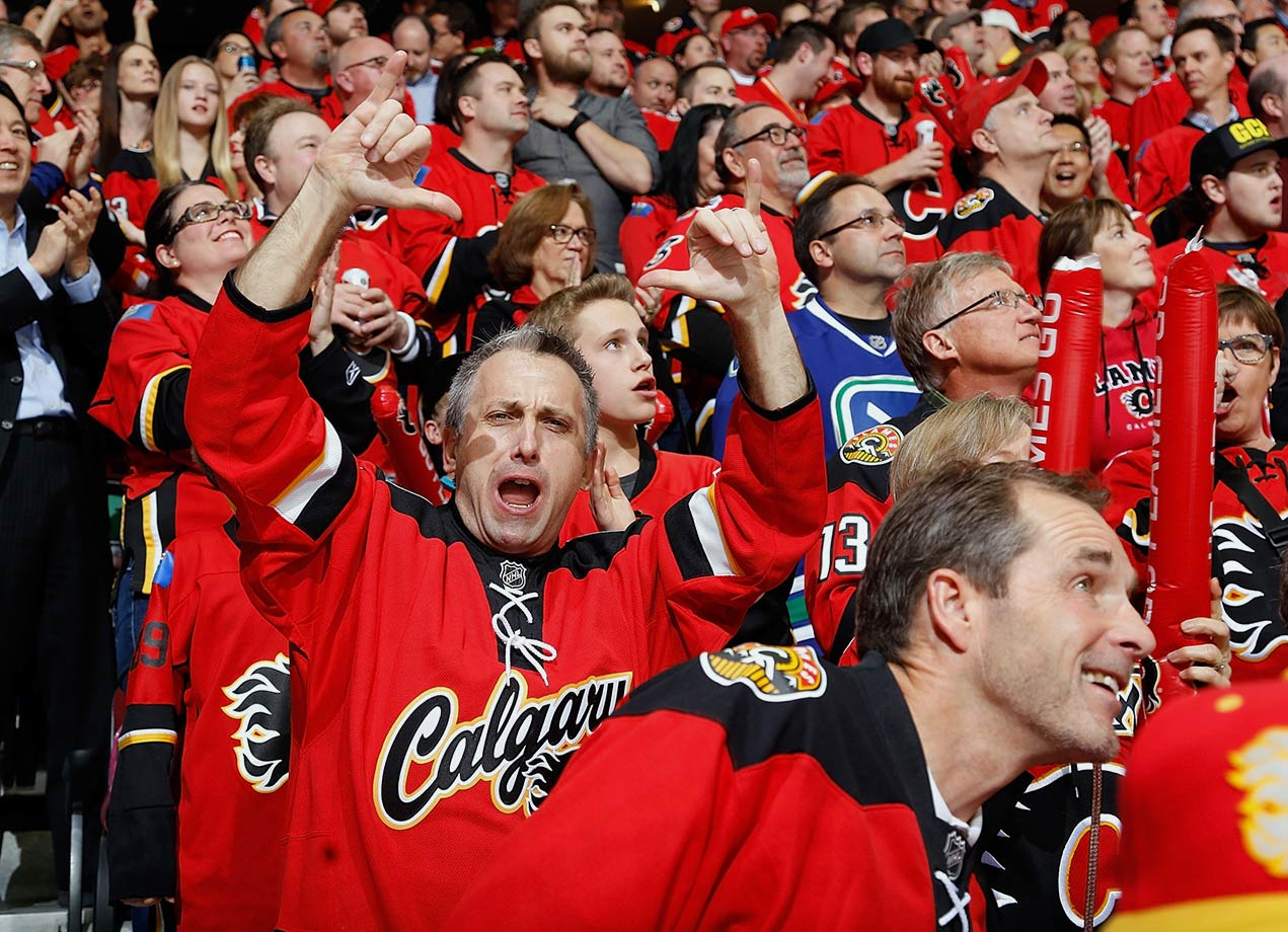 "You see that guy jumping up and down and waving his arms over there? He's dying to tell someone, anyone, that the Flames are going to suck hard this year. Because, yep, #fancystats. Calgary's possession numbers were brutal last season, second worst in the entire league. Sure, they still got into the playoffs and knocked off a higher-ranked opponent in the first round, but even Ken King, the team's own president, admitted they ""made a lot of 40-foot putts"" along the way. The stats nerds will swear to you that that sort of thing has a way of catching up to a team, and since hockey is a game of math they're probably right. Better luck next year, Flames!"