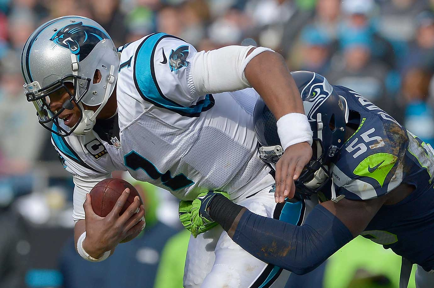 Frank Clark of the Seattle Seahawks sacks Cam Newton during their NFC divisional playoff matchup in Charlotte. The Panthers led 31-0 at halftime and moved within a win of reaching the Super Bowl.
