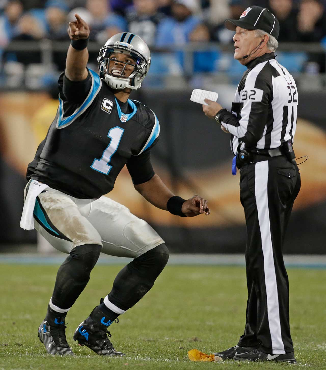 Cam Newton pleads with line judge Jeff Bergman in a Week 17 game against Tampa Bay.                                Text credit: Daniel Hersh