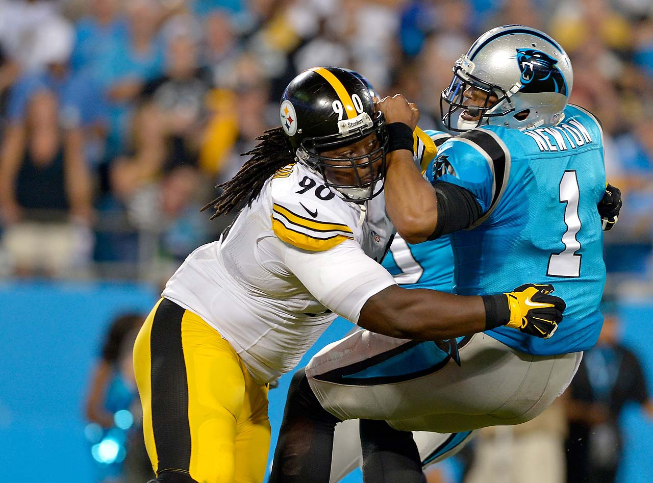 Steve McLendon of the Pittsburgh Steelers sacks Cam Newton during the Steelers win in Charlotte.