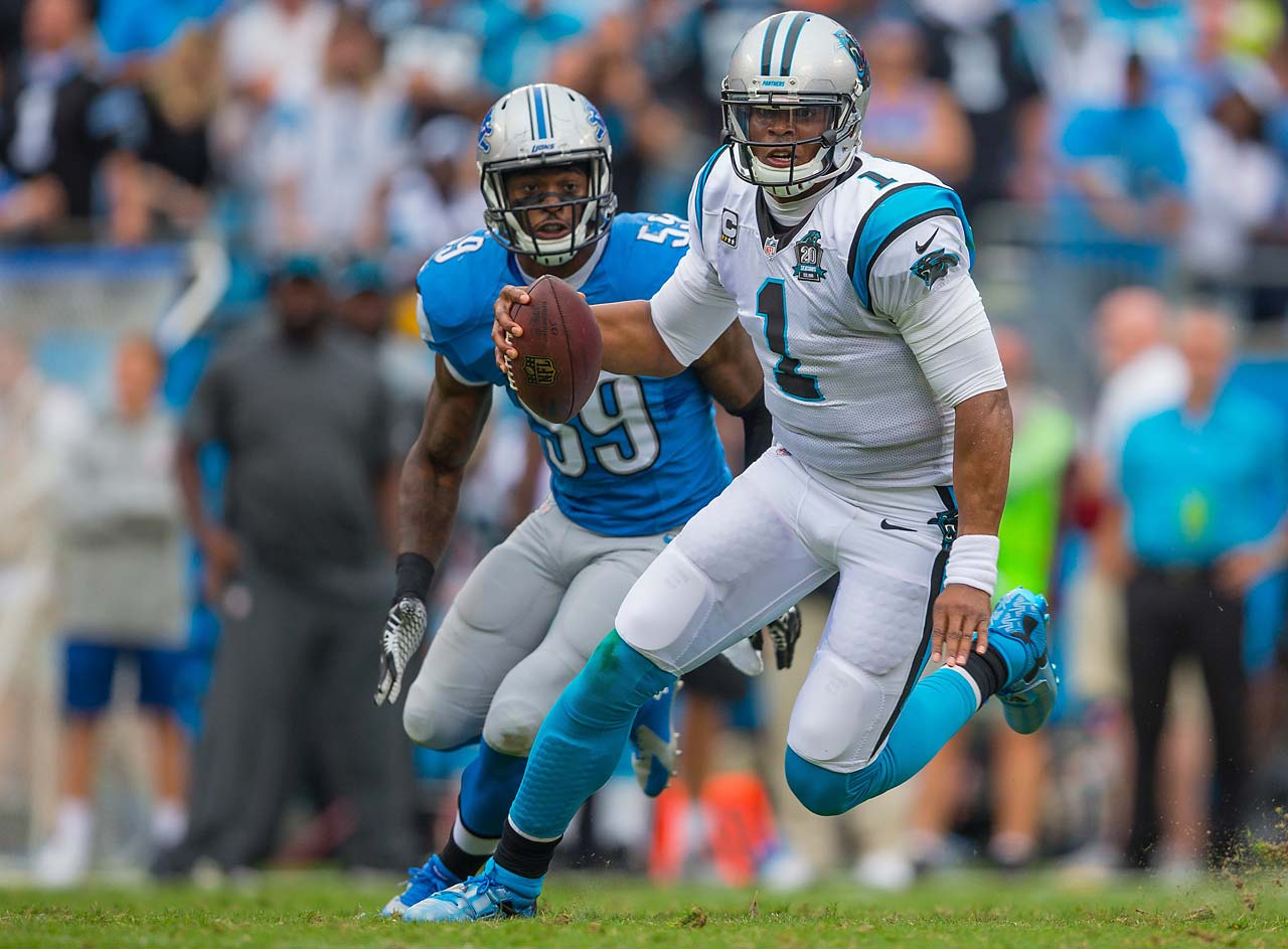 In his first game of the season, Cam Newton completed 22 of 34 passes for 281 yards and one touchdown.