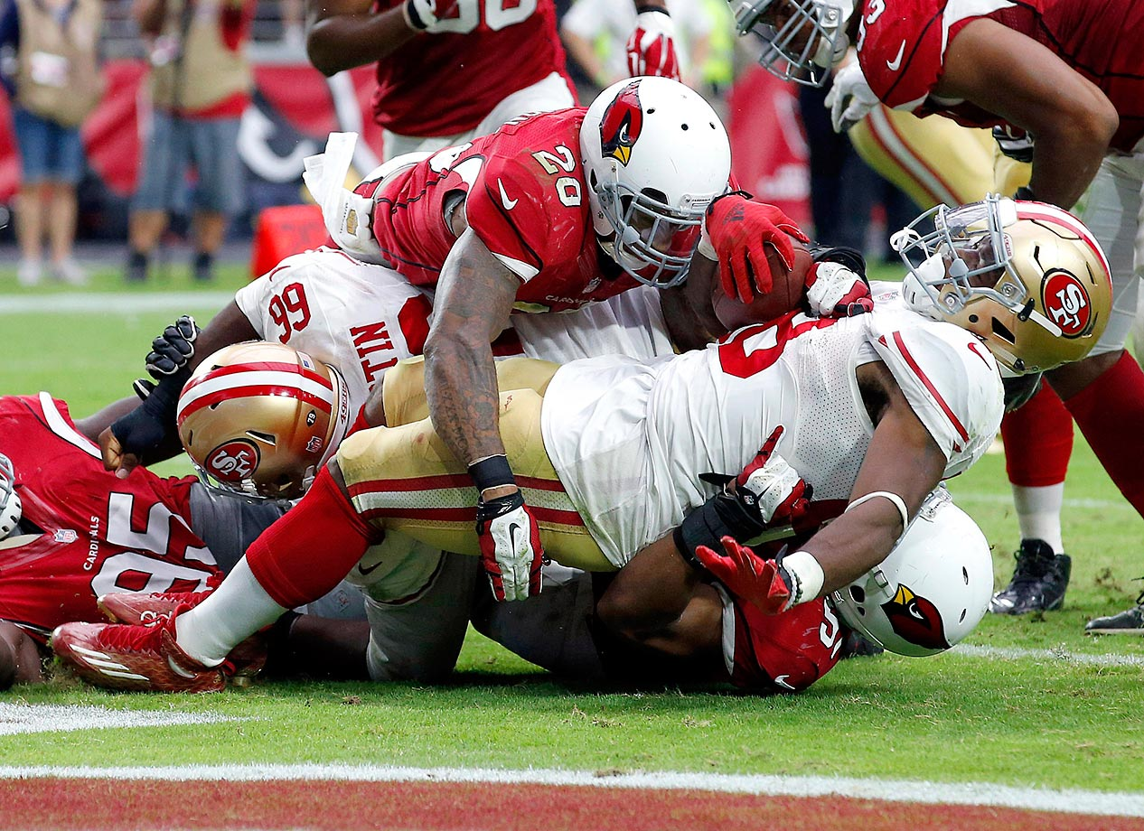 Carlos Hyde is tackled for a safety by Arizona strong safety Deone Bucannon.