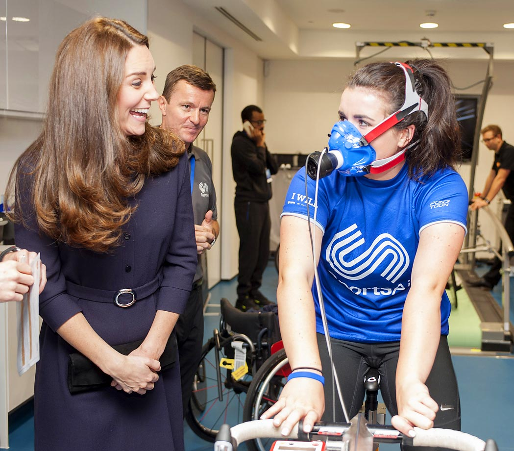 Catherine, Duchess of Cambridge, meets potential young athletes, including Emma Allen from Southampton.