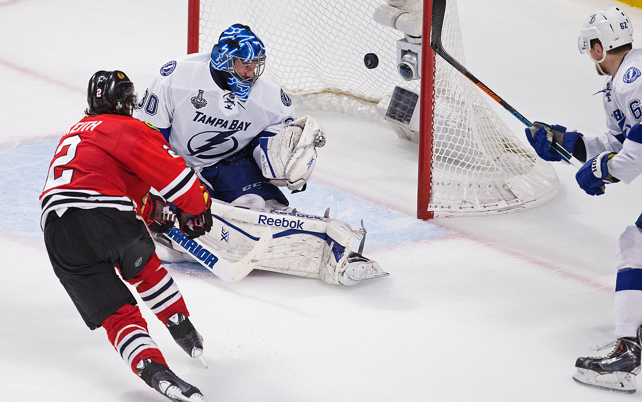 Duncan Keith made it a 1-0 game when he flipped in a rebounded shot in the second period against Ben Bishop.