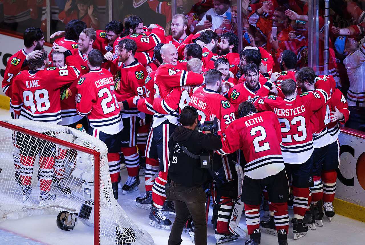 The Chicago Blackhawks celebrate after defeating the Tampa Bay Lightning 2-0 in Game 6 to win their third Stanley Cup in the past six years.