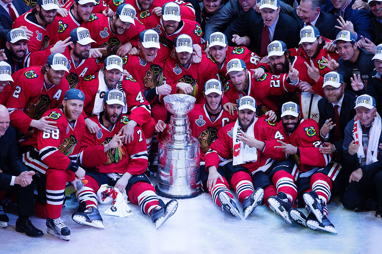 Chicago is the first team since the Detroit Red Wings  to win three titles in a six-year stretch. Detroit did so in 1997, 1998 and 2002.