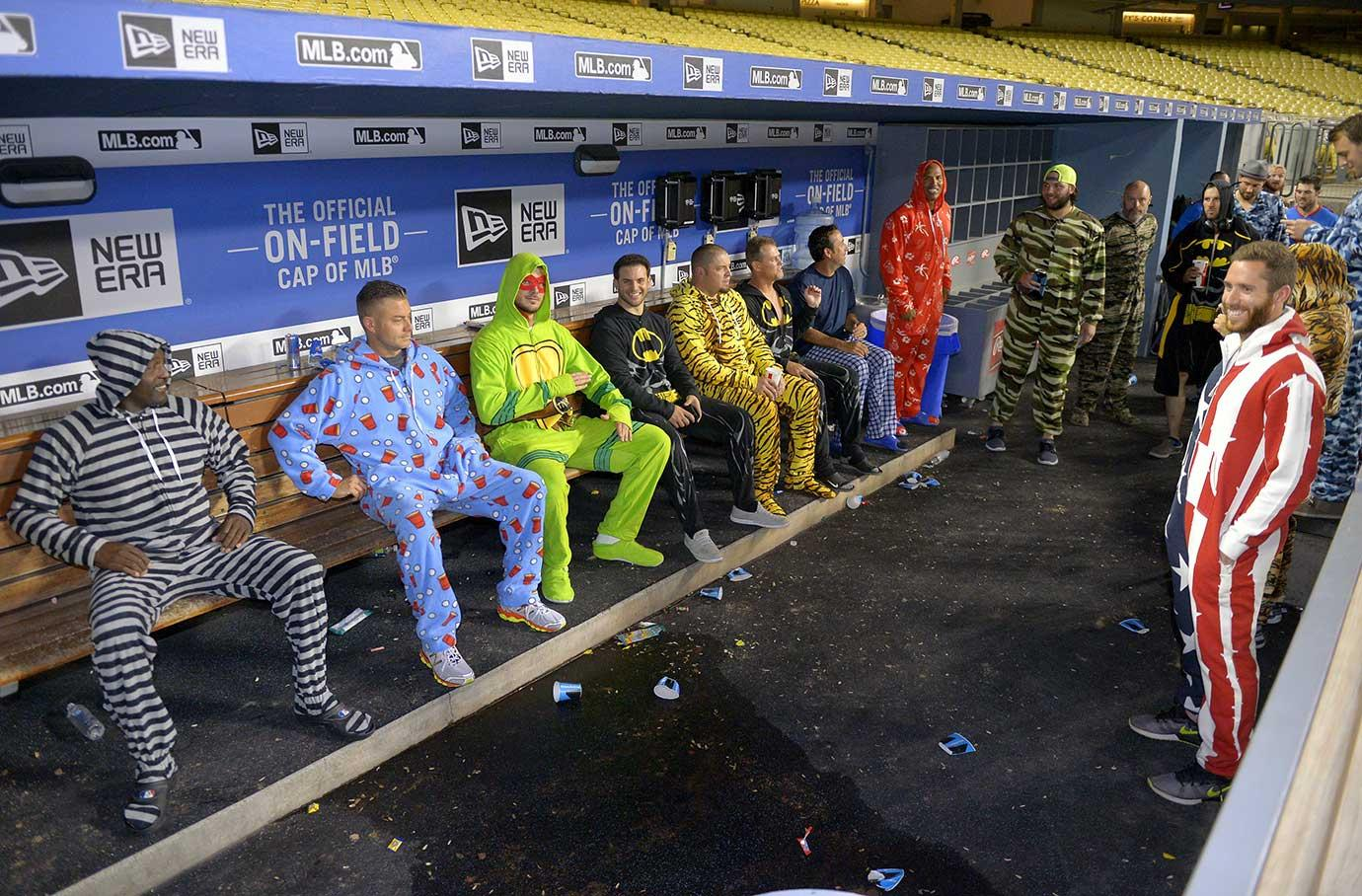 Chicago Cubs players wearing pajamas after their game against the Dodgers.
