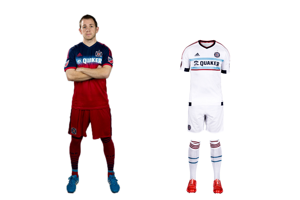 "Of the four MLS teams with an all-red home uniform (that's 20 percent of the league), the Fire were first. They're the ""Men in Red,"" after all. But Chicago began veering away from its traditional look in 2012. First the famous white hoop became blue. Then last year, the blue expanded to the chest and shoulders. It doesn't look bad, but it doesn't seem right, either. The new away kit is another all-white offering. But at least designers put a bit of thought into this one. The thin, light blue hoops on the shirt and socks, intended to reflect the design of the city flag, are a nice touch."