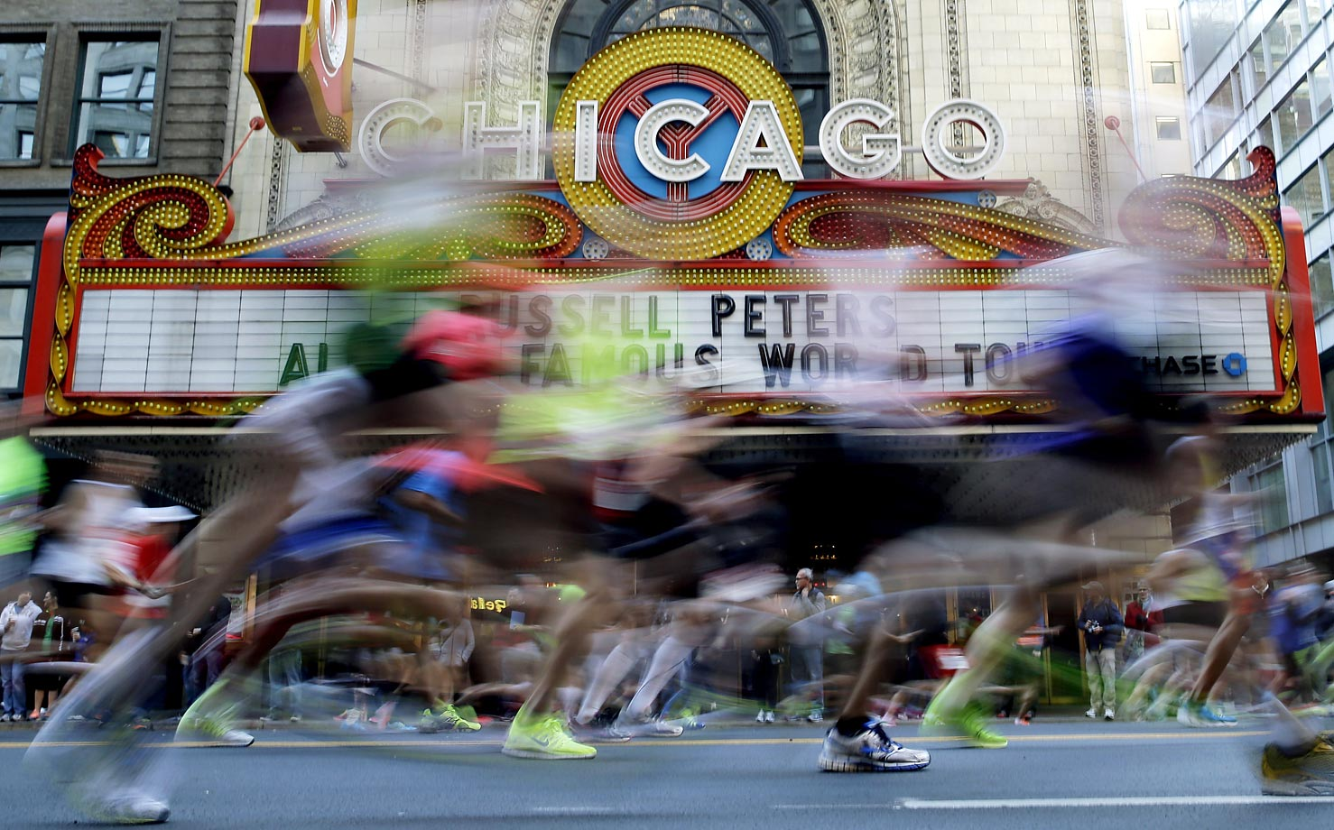 Runners participate in the Chicago Marathon. The 37th annual race included a field of 108 elite men, women and wheelchair athletes and more than 45,000 amateur runners.