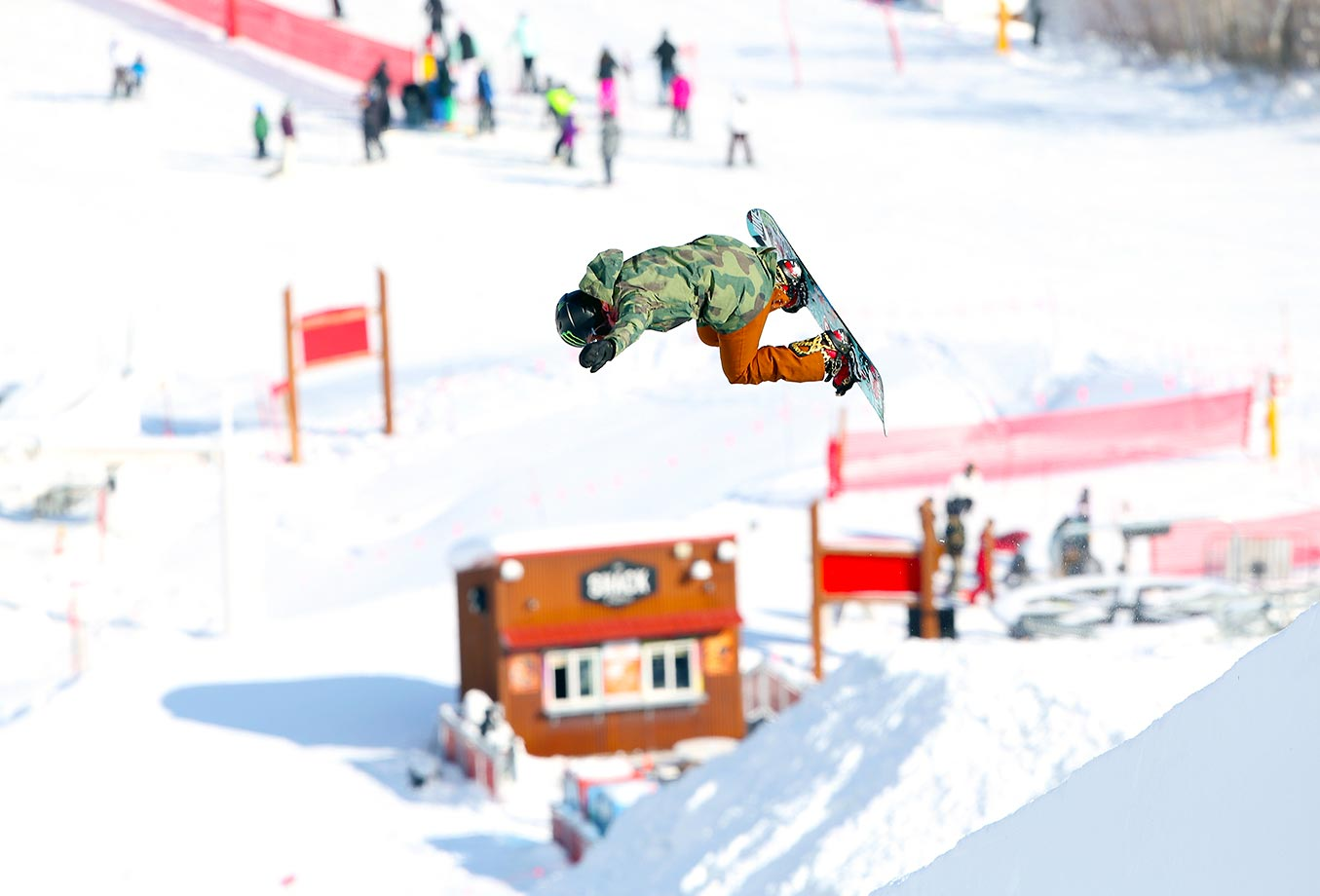 Snowboarder Chloe Kim is nonstop action during practice runs at Park City.