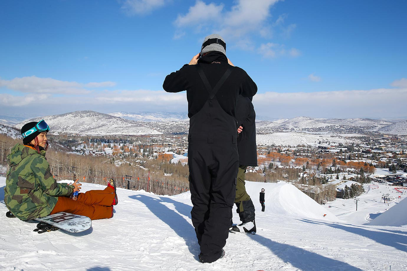 Chloe Kim takes a break on top of the mountain in Park City.