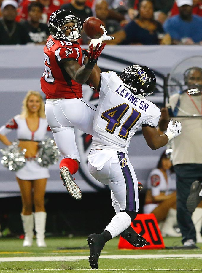 Anthony Levine is called for pass interference against Justin Hardy.
