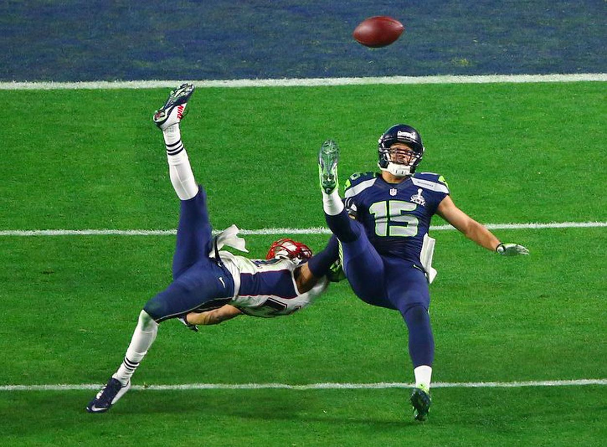 Seattle Seahawks Jermaine Kearse somehow made this catch while on the ground late in the fourth quarter of the Super Bowl.