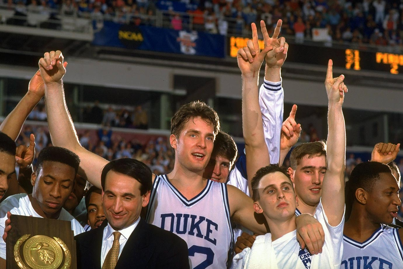 The only player to start in four consecutive Final Four games, Laettner was the spark for a run of incredible Duke teams. After losing in the Final Four and the national championship game in Laettner's first two seasons, the Blue Devils won back-to-back national titles. Laettner carries the unusual distinction of hitting two game-winning buzzer beaters in the 1990 and '92 regional finals. His epic game-winner in the '92 regional final against Kentucky capped off a perfect performance in which he made all 10 of his field goals and all 10 of his free throws. He is the career-leading scorer in tournament history (407 points), but perhaps the most remarkable number of Laettner's career is 23. That's the number of games he played in the NCAA tournament. The maximum for a four-year player is 24.