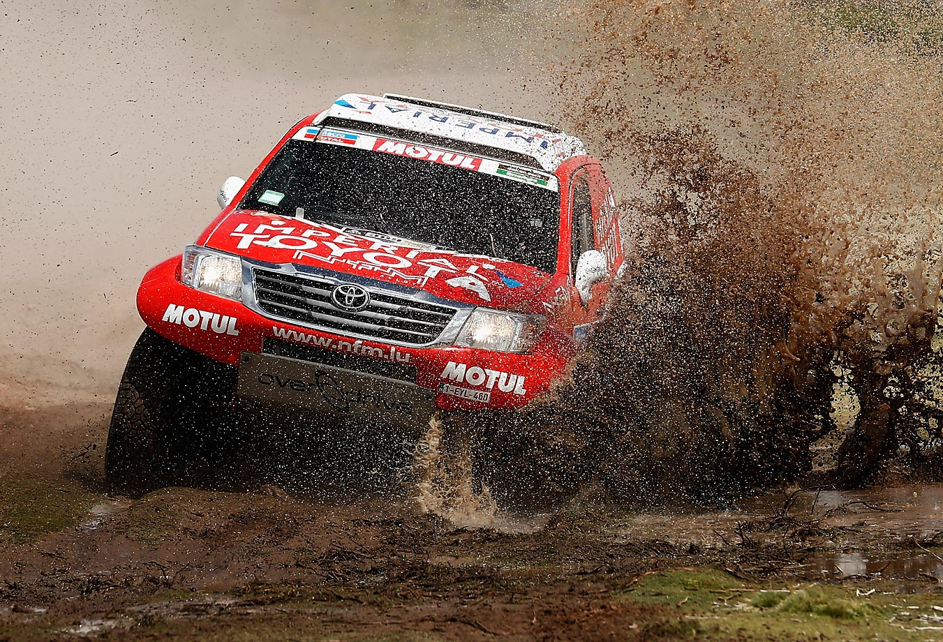Christian Lavielle and Pascal Maimon of France driving for Overdrive Toyota Hilux compete during day 7 of the Dakar Rally.