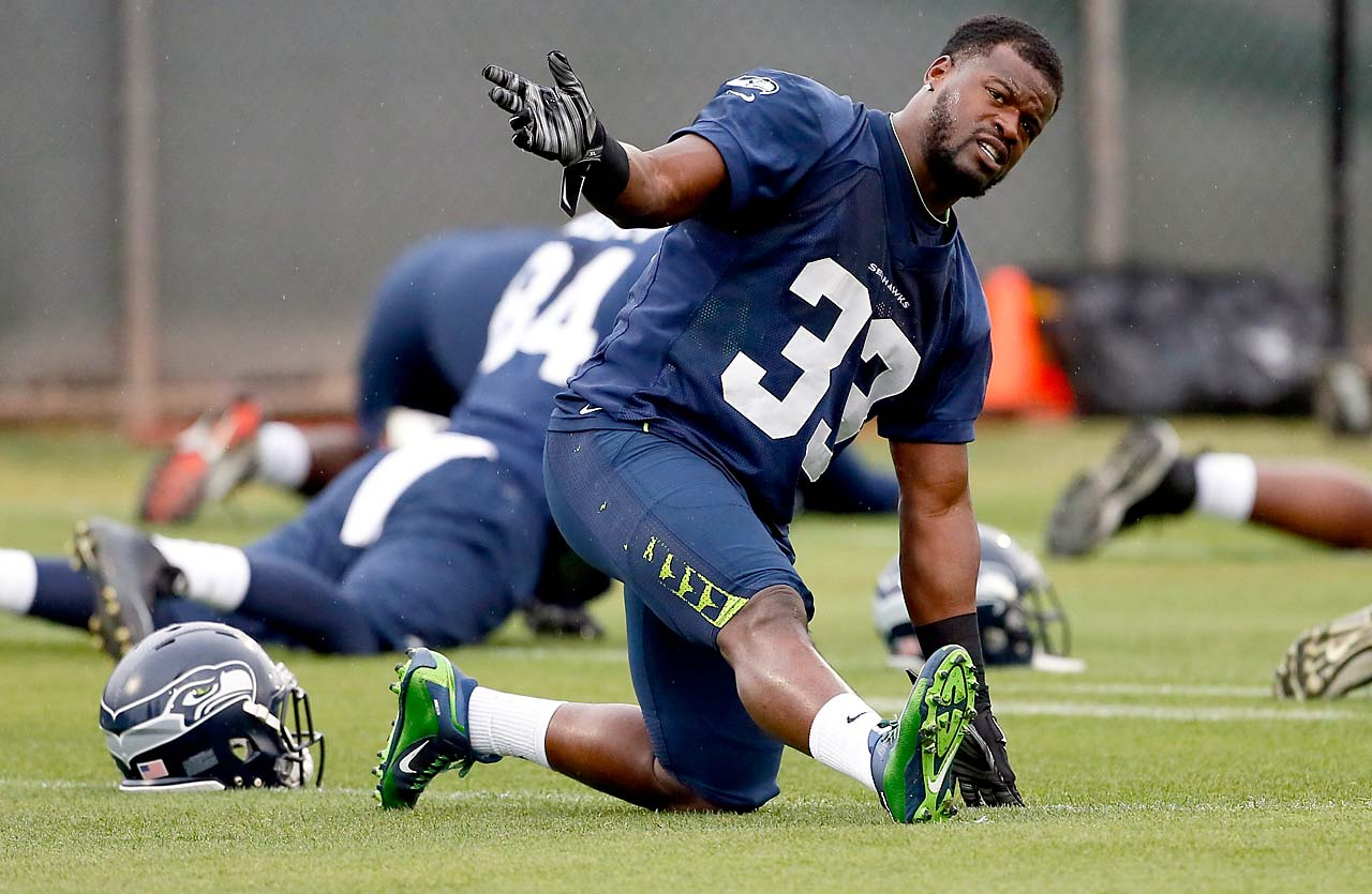 Seattle running back Christine Michael stretches during a Thursday practice.