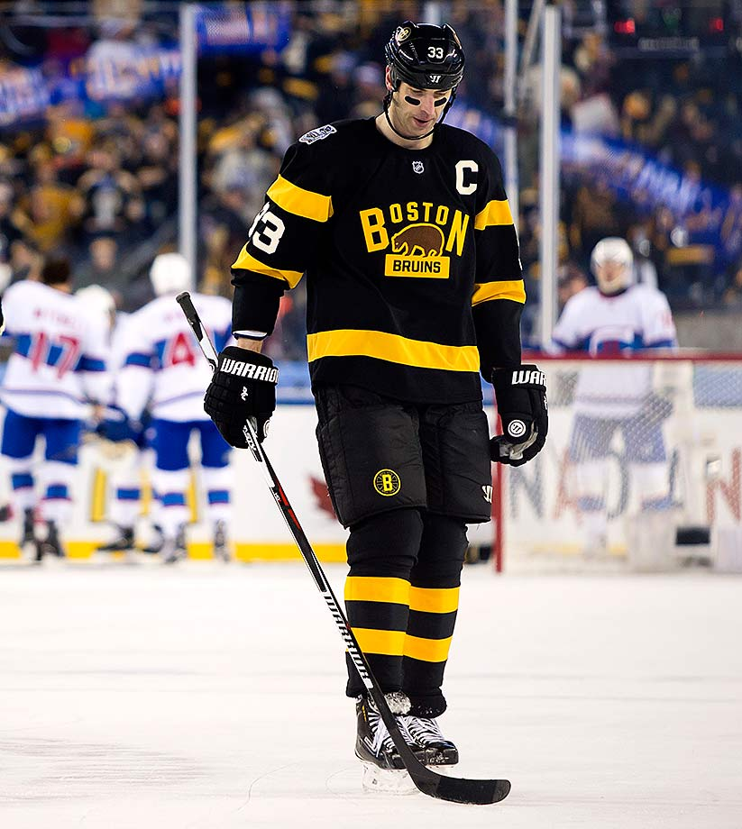 The agony of a 5-1 defeat weighs on Bruins captain Zdeno Chara.