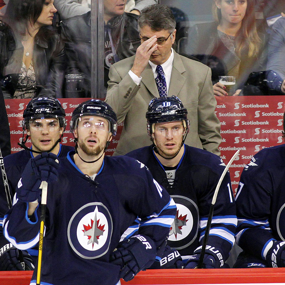 Claude Noel was fired as head coach of Winnipeg on Jan. 12, amid a five-game losing streak that dropped the Jets to 19-23-5 and 10 points out of the final playoff spot in the Western Conference. Noel, hired after the Atlanta Thrashers moved to Winnipeg before the 2011-12 season, went 80-79-18 during his tenure with the Jets.
