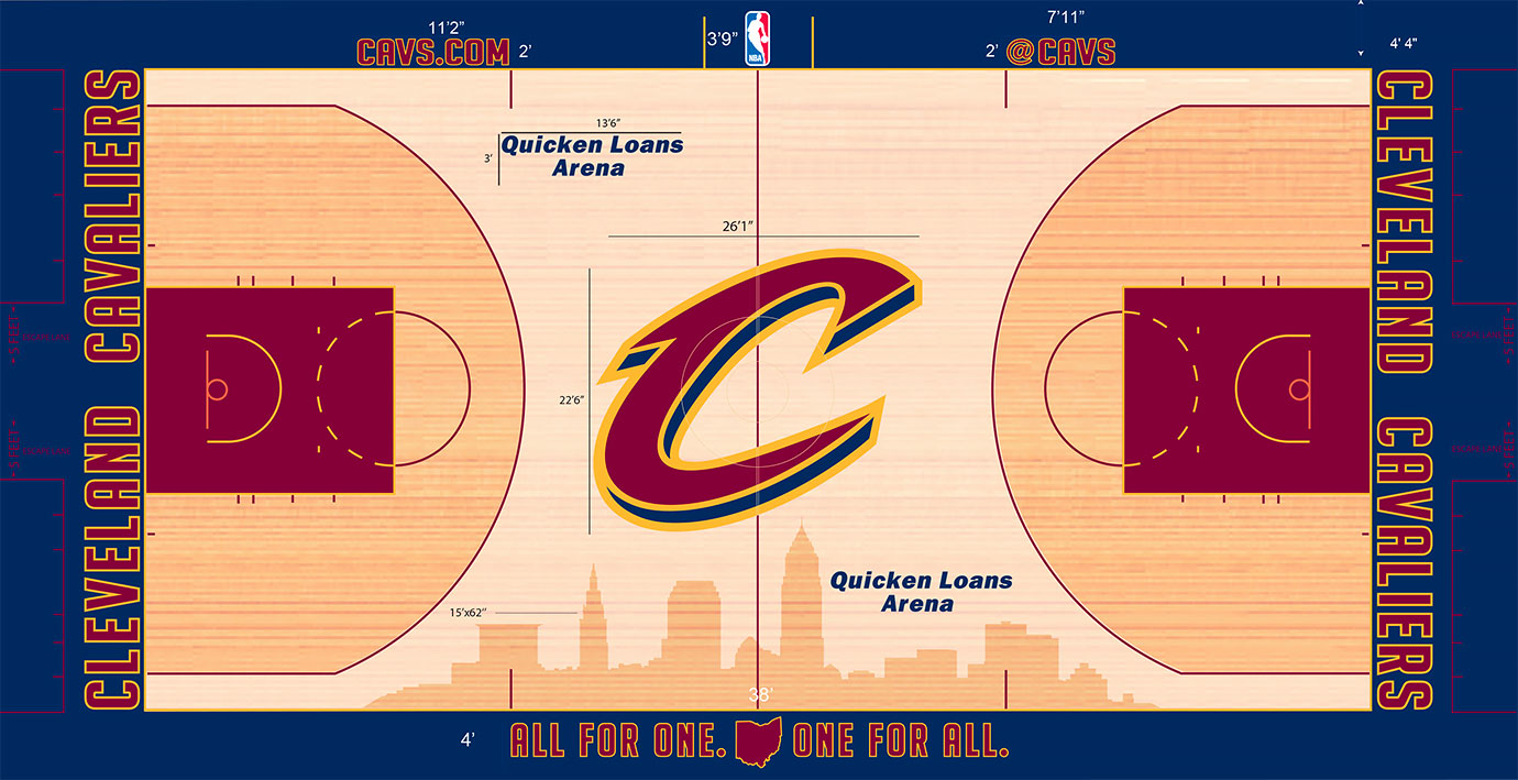 "The oversized ""C"" logo in the middle may delight some, but may prove gaudy to others. At over 26 feet wide and over 22 feet tall, this C signifies enormity in the NBA, the largest width of any center logo. The cityscape in stain stretching 62 feet along one side creates yet another oversized feature."