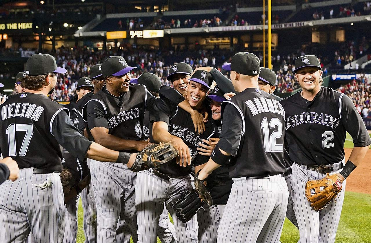 Jimenez pitched the first no-hitter in Rockies history, dominating the Braves in a 4-0 victory. Jimenez walked six -- all in the first five innings -- and struck out seven. He was helped by Dexter Fowler's diving catch on Troy Glaus' drive to left-center field in the seventh inning.
