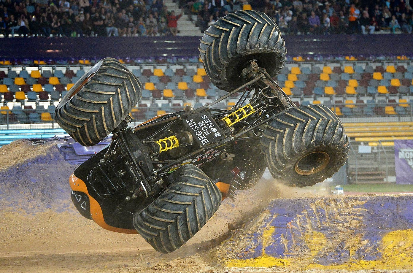 Colt Stephens flips Monster Mutt Rottweiler during the Monster Jam at Queensland Sport and Athletics Centre.