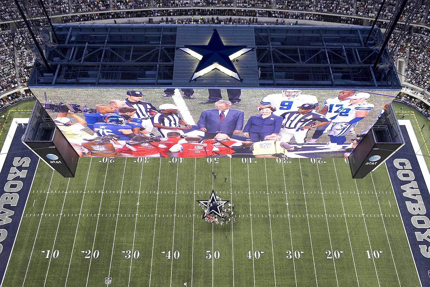 The view from inside Cowboys Stadium before
