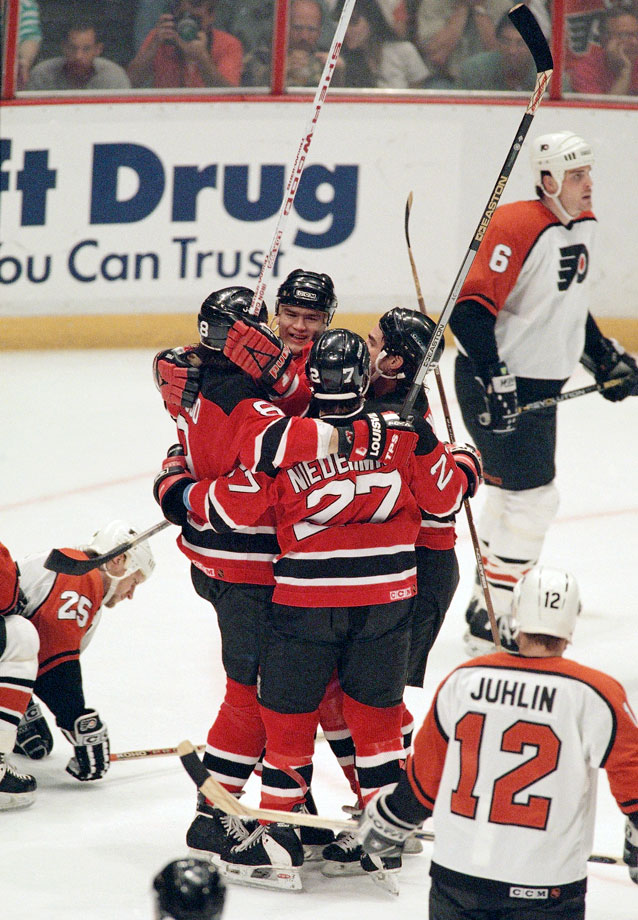 A fan favorite during the Devils' march to the 1995 Stanley Cup, this line was entrusted by coach Jacques Lemaire with the not-so-dainty jobs, like dishing big hits and hurts in the corners.