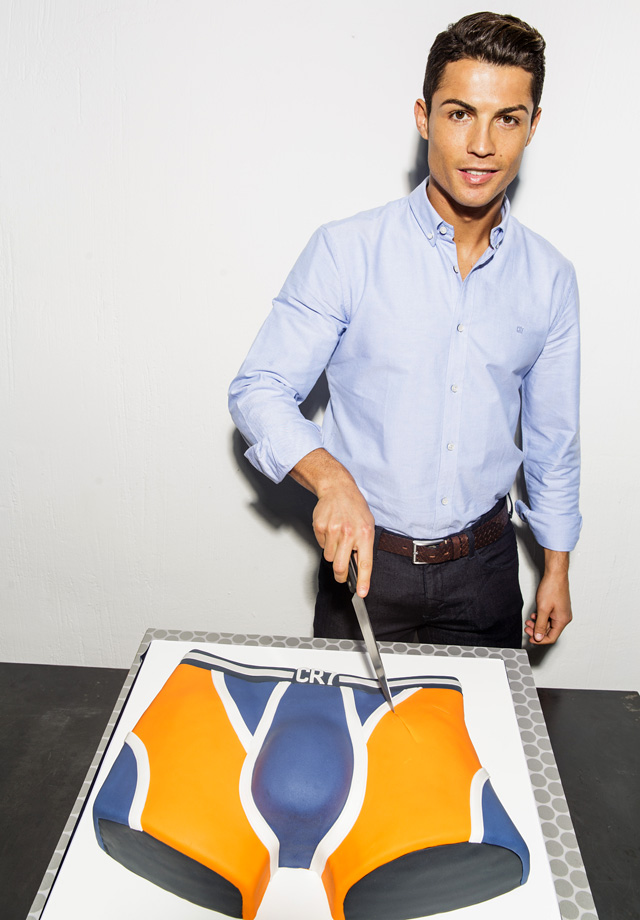 Cristiano Ronaldo cuts a cake to celebrate the first year anniversary of the global launch of the his CR7 Underwear brand in Madrid, Spain.
