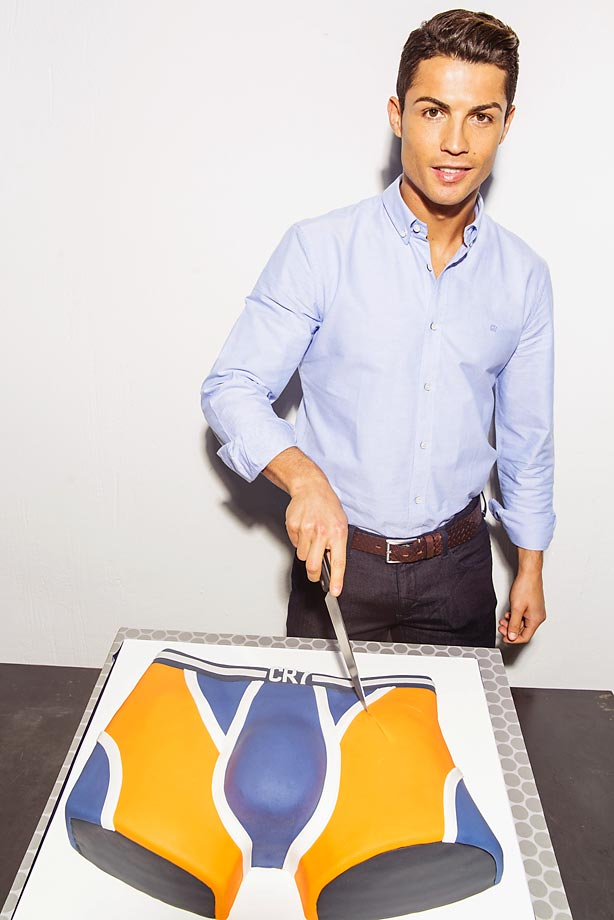 Cristiano Ronaldo cuts an underwear cake to celebrate the first year anniversary of the global launch of his CR7 Underwear brand.