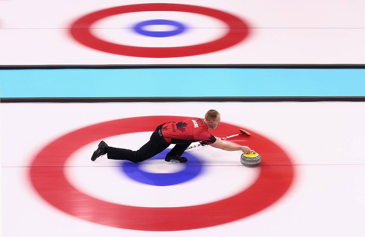 Brad Jacobs of Canada in action during curling training on day 2.
