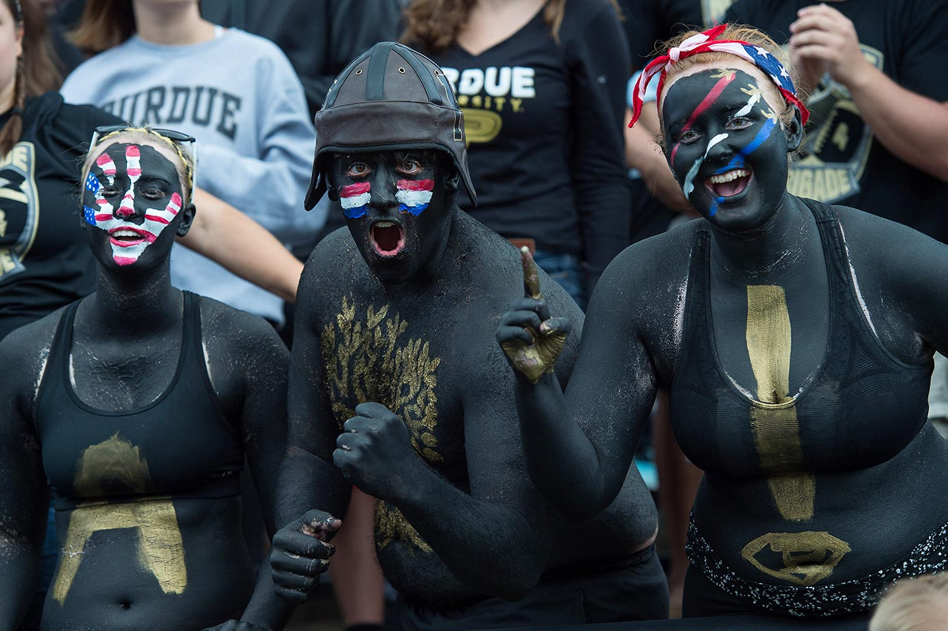 Purdue students celebrate a touchdown against Indiana State.