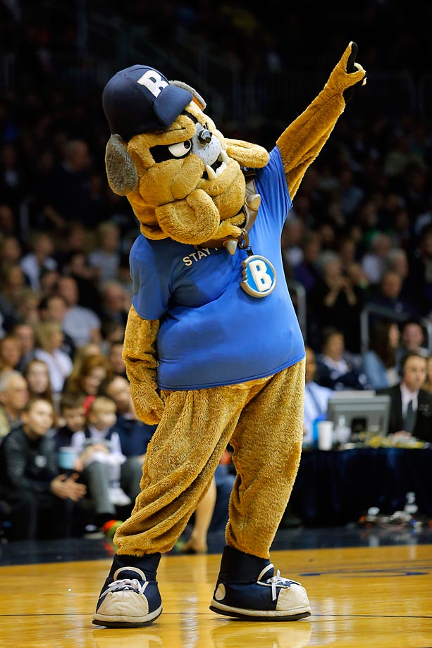 Hink the Butler Bulldog fires up the crowd during a game against Seton Hall.  Butler defeated Seton Hall 77-57.