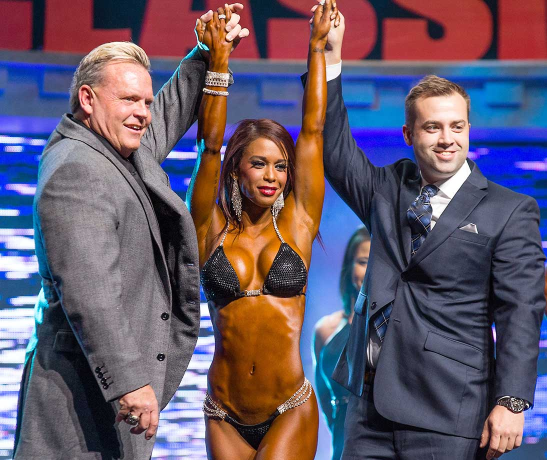 India Paulino is crowned champion of Bikini International at the Arnold Sports Festival in Columbus, Ohio.