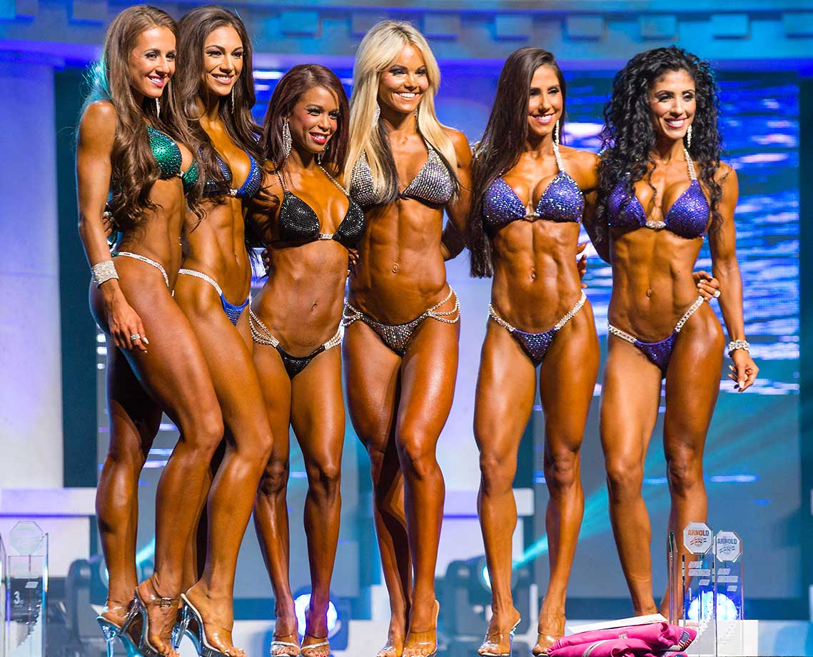 Courtney King (5th place), Janet Layug (3rd), India Paulino (1st), Justine Munro (3rd), Angelica Teixeira (4th) and Michelle Sylvia (6th) following the Bikini International competition at the  Arnold Sports Festival in Columbus, Ohio.