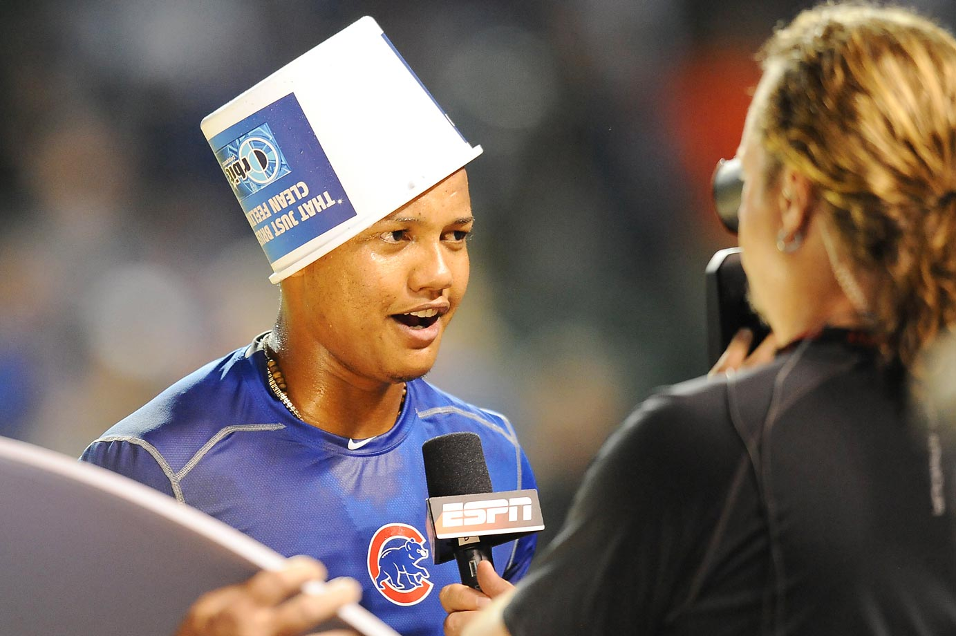 Starlin Castro of the Chicago Cubs goofs around during an interview after a win over the Cincinnati Reds.