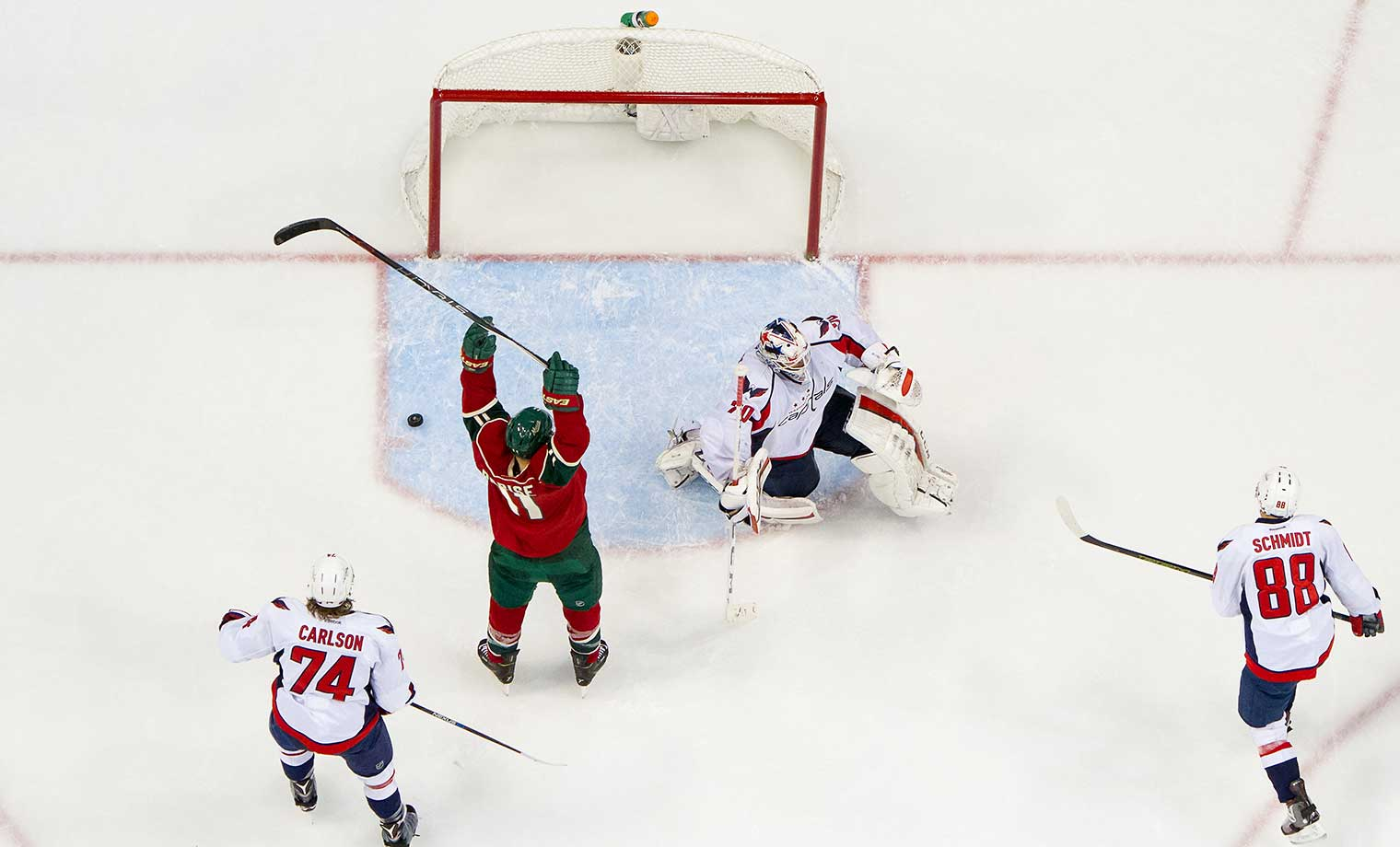 Zach Parise of the Minnesota Wild celebrates after Ryan Suter scored against the Washington Capitals.