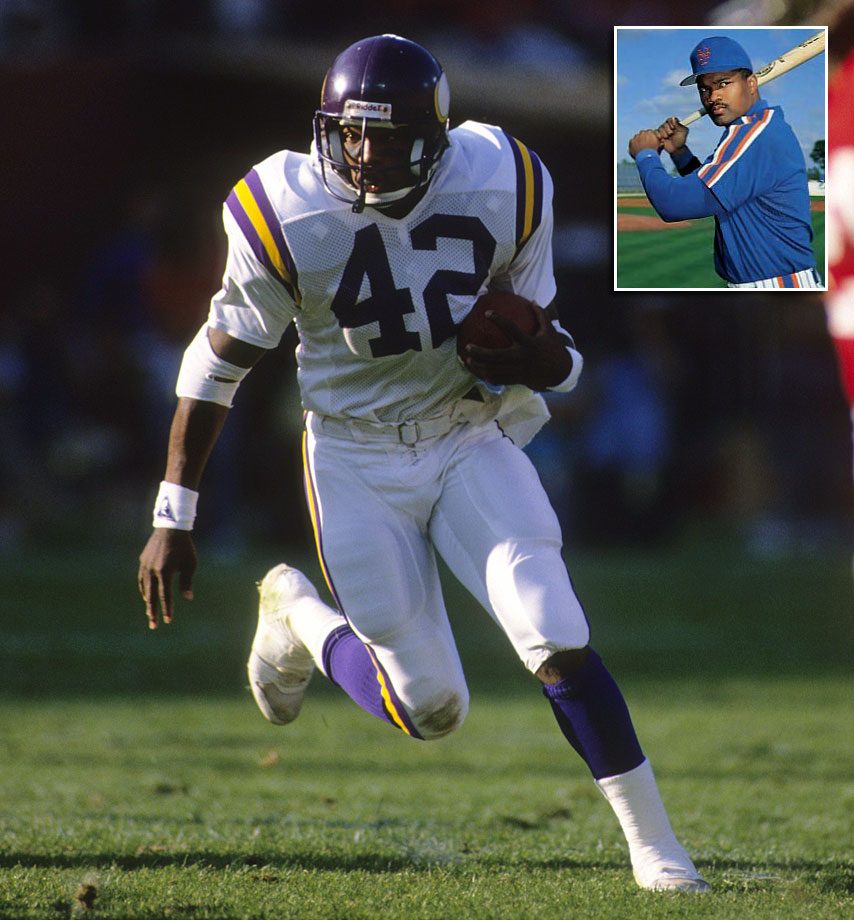 D.J. Dozier spent his first four years after college in the NFL, playing running back for the Minnesota Vikings and the Detroit Lions. Although he never got more than 69 carries in a season, Dozier averaged 4.0 yards per carry and had five rushing touchdowns his rookie year in 1987. Dozier signed a minor-league contract with the New York Mets in 1990 before getting called up to the majors in 1992. Dozier's career in the majors lasted just 25 games, in which he hit .191 with two RBI.