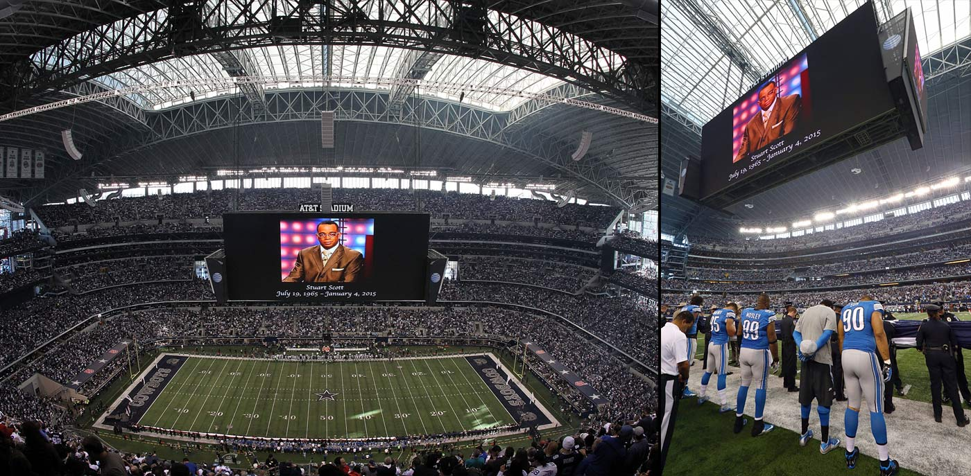 Stuart Scott is honored before the start of the NFC Wild Card Playoff game between the Dallas Cowboys and Detroit Lions at AT&T Stadium on Jan. 4, 2015 in Arlington, Texas.