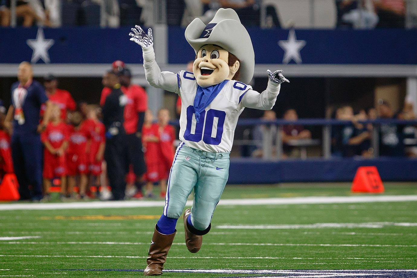 "Rowdy is as wholesome as singing ""Amazing Grace"" with apple pie in your mouth on the Fourth of July after helping an old lady across the street. What Rowdy isn't – is a non-creepy NFL mascot. Which number is higher: the number of Cowboys Super Bowl titles or the number of heads in Rowdy's freezer?"