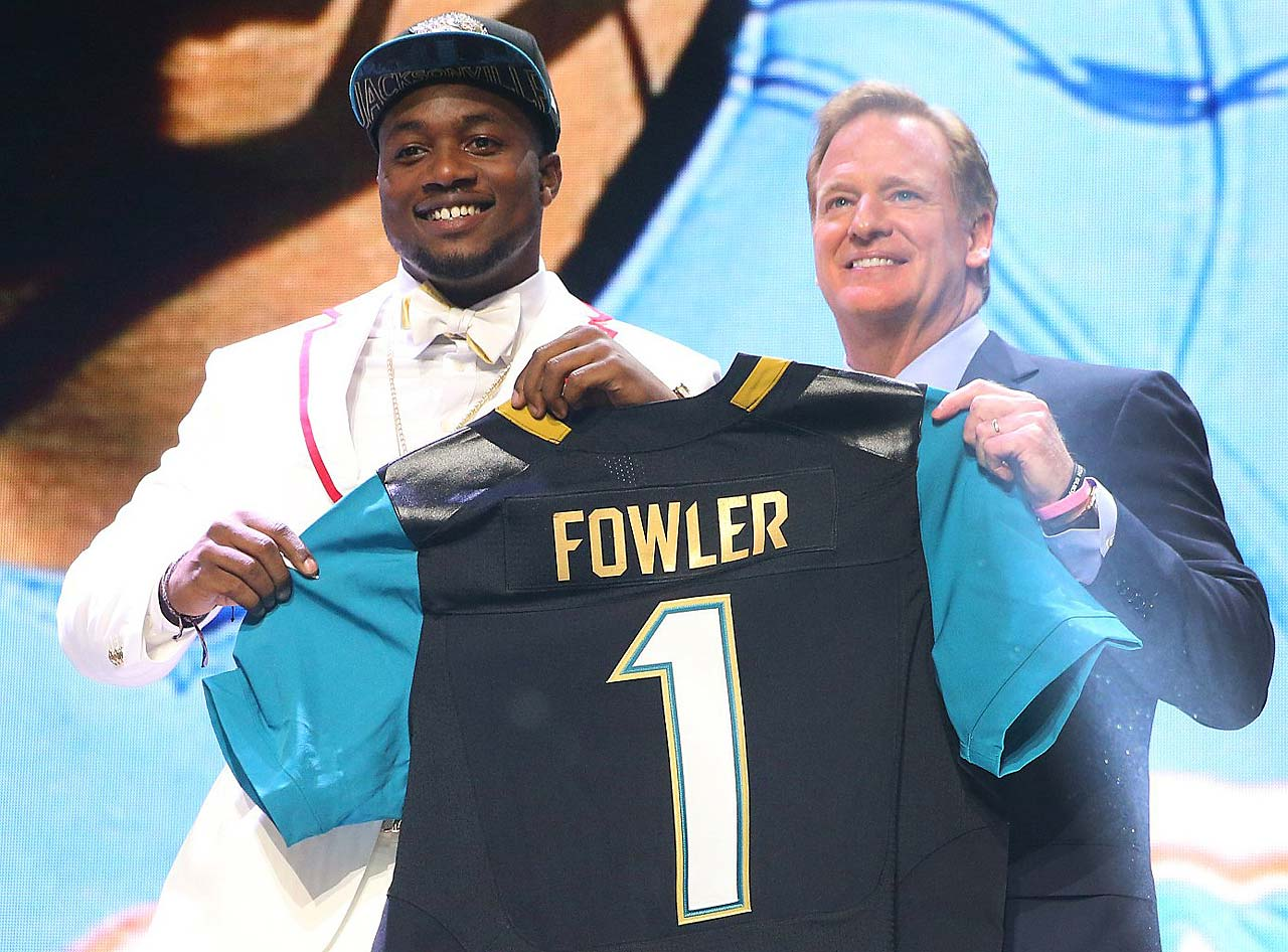 Dante Fowler with commissioner Roger Goodell after being drafted by the Jacksonville Jaguars.