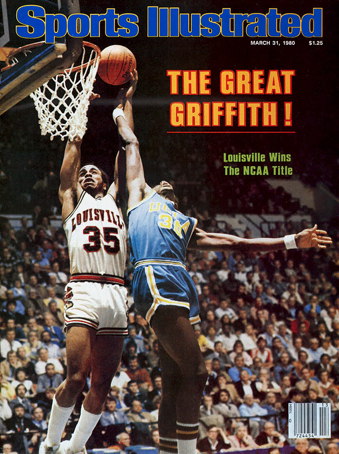"Griffith, the 1980 John Wooden Award winner, led the Cardinals to their first national championship that season, scoring a game-high 23 points in Louisville's 59-54 victory over UCLA in the final. Griffith averaged 23 points per game with five rebounds and 2.4 steals in 1979-80 and his 825 points were the highest single-season total in Louisville history. Nicknamed Dr. Dunkenstein for his prolific dunking ability, Griffith threw down an ""Around the World"" dunk in the Elite Eight in the 1980, and his 156 career dunks are second most all-time for the Cardinals."