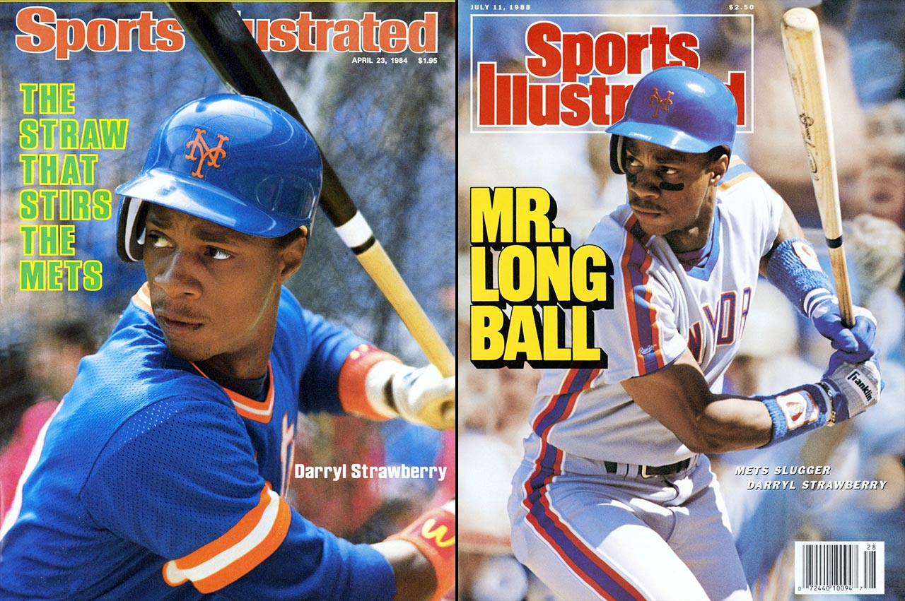 The Mets' all-time home run leader, Strawberry led the majors with 252 home runs from 1983 to 1990 despite Shea Stadium's unfavorable dimensions, hitting .263/.359/.520 (145 OPS+) over that span while averaging 32 home runs, 92 RBI, and 24 stolen bases. The top pick in the 1980 draft, Strawberry won the Rookie of the Year in 1983, then made the All-Star team in each of his remaining seven seasons with the Mets before departing as a free agent.