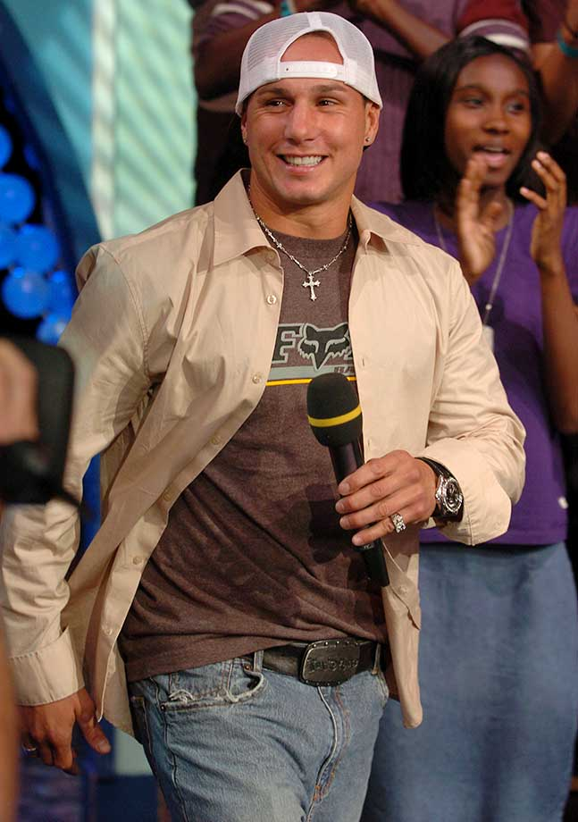 "Dave Mirra during Denzel Washington and Dave Mirra Visit MTV's ""TRL""  on July 16, 2004, at MTV Studios in New York City."