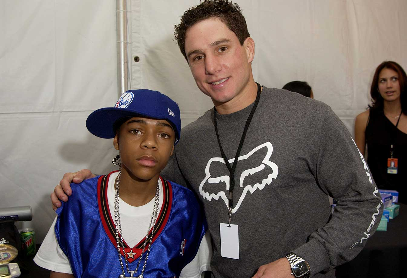 Lil' Bow Wow and Dave Mirra during Nickelodeon's 15th Annual Kids Choice Awards.