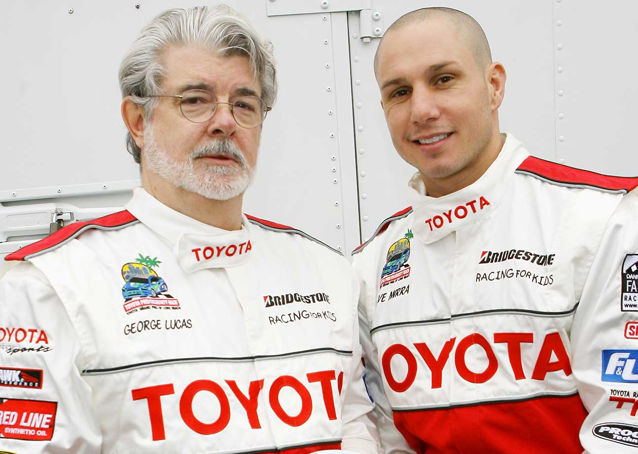 George Lucas and Dave Mirra during the 31st Annual Toyota Pro/Celebrity Race in Long Beach, Calif.