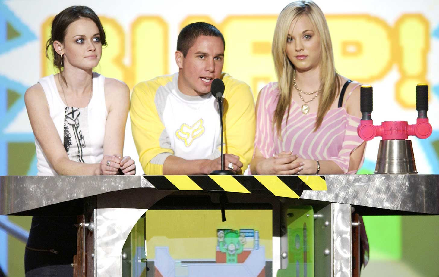 Alexis Biedel, left, Dave Mirra and Kaley Cuco during Nickelodeon's 16th Annual Kids' Choice Awards in 2003 in Santa Monica, Calif.